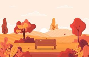 herfstscène met glooiende heuvels, bomen en bank