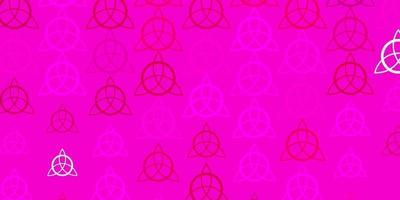 lichtroze vector sjabloon met esoterische tekens.