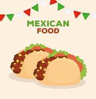 Mexicaans eten poster met taco's en slingers decoratie vector
