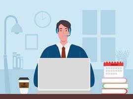 man in een videoconferentie via laptop vector