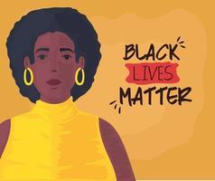 zwarte levens zijn belangrijk banner met mooie vrouw, stop racisme concept vector