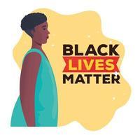 zwarte levens zijn belangrijk banner met vrouw, stop racisme-concept vector