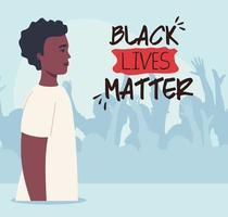 zwarte levens zijn belangrijk banner met mannen, stop racisme-concept vector