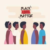 zwarte levens zijn belangrijk banner met mensen, stop racisme-concept vector
