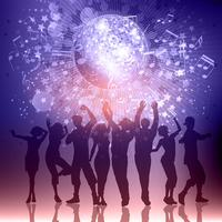 Silhouetten van feestmensen op een muziek merkt achtergrond op vector