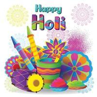 Holi-groeten met kleurrijke elementen vector