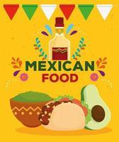 Mexicaans eten poster met fles tequila, taco, guacamole en avocado vector
