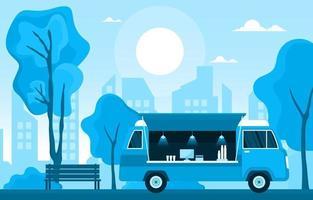 voedselvrachtwagen op stadsstraat vector