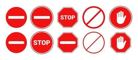 rood stopbord geïsoleerd. vector stop hand teken