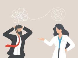 psycholoog vrouw en zakenman patiënt in therapiesessie. behandeling van stress, mentale problemen. psychotherapie counseling concept.