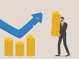 zakenman verhoogt de begroting, het concept van toenemende financiën vector