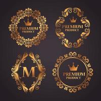 set premium productlabels op gouden frames vector