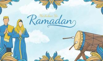hand getrokken marhaban ya ramadan met islamitisch ornament en moslimkarakter vector