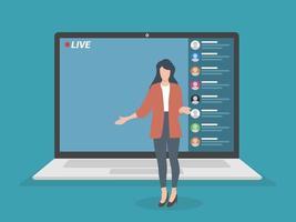 live streaming-evenement, jonge vrouw die optreedt voor de laptopcamera, externe activiteiten