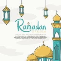 hand getekend ramadan kareem wenskaart met islamitische ramadan ornament vector