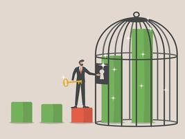 sleutels tot economische groei, draagt de zakenman een sleutel om een oplopende grafiek met kooi te openen