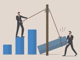 bedrijfsheropbouw, werknemers of zakenman herbouwen bedrijf na covid-uitbraak, teamwerk vector