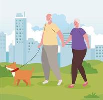 schattig oud stel wandelen met de hond buiten vector
