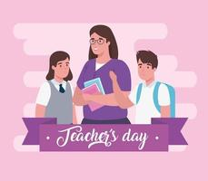 fijne lerarendag, met leraar en studenten vector
