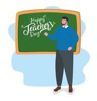 gelukkige lerarendag, met leraar en schoolbord vector