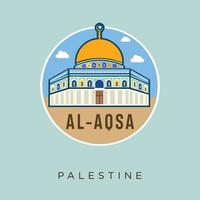 al - aqsa moskee palestina jeruzalem plat ontwerp vector voorraad. Palestina reizen en attracties, monumenten, toerisme, traditionele cultuur en religie