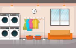 wasserette met wasmachines en rekken vector