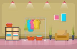 wasserette met kledingrek en planken vector