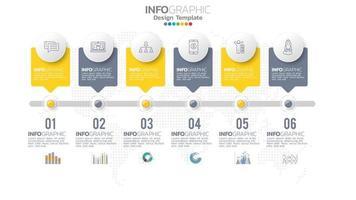infograph 6 stap geel kleurelement met cirkel grafisch grafiekdiagram, bedrijfsgrafiekontwerp. vector