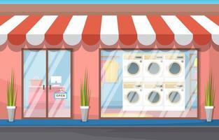 wasserette buitenkant met wasmachines en luifel vector
