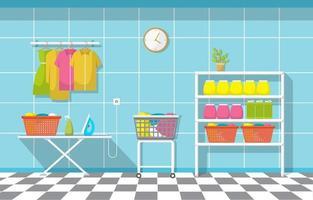 wasserette met kledingrek en strijkplank vector