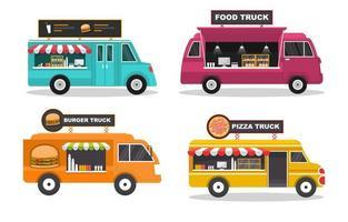 set van vier foodtrucks met vrolijke kleuren en verschillende producten vector