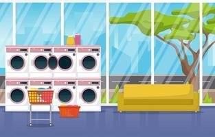 wasserette met wasmachines en bank vector
