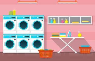 wasserette met wasmachines en strijkplank vector