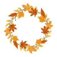 rode en gele herfstbladeren in cirkelvormig frame boeket vector