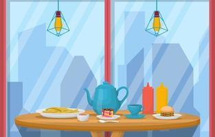 lunch in restaurant met uitzicht op de stad illustratie vector