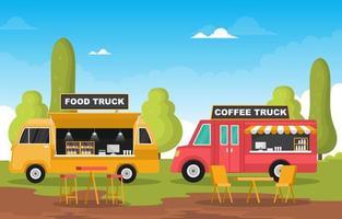 voedselvrachtwagens in parkillustratie vector