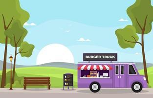 foodtruck met hamburgers in het park vector