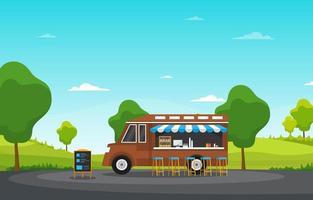voedselvrachtwagen in parkillustratie vector