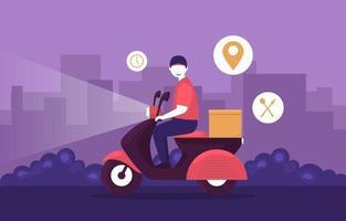 man rijdende scooter voor koeriersdienst