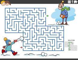 doolhof educatief spel met jongen en vader op wintertijd vector