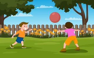 kinderen spelen in de tuin vector