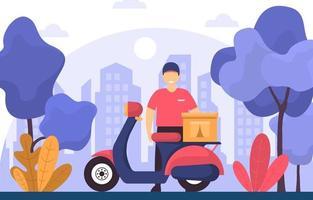 man met scooter voor koeriersdienst illustratie