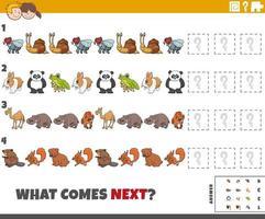 educatief patroonspel voor kinderen met tekenfilm dieren vector