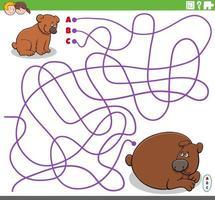 educatief doolhofspel met cartoon baby beer en zijn moeder vector