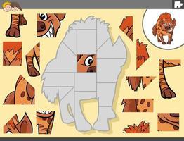 puzzelgame met hyena dierlijk karakter vector