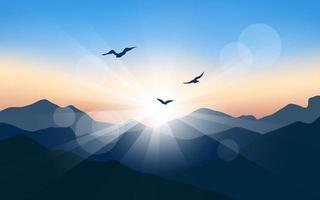 gloeiende zonsopgang bij berg vector