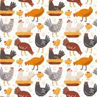 kip, vogel, haan, kip, kuiken, ei, nest. pluimveebedrijf, plattelandsleven. naadloze patroon, textuur, achtergrond. ontwerp van verpakking. vector