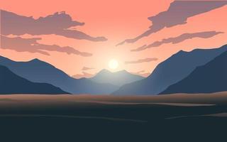 zonsondergang wolken boven de berg vector