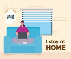 vrouw thuiswerken vector
