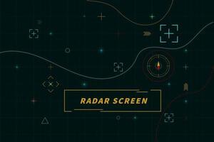 digitaal groen radarscherm. radar bedieningspaneel abstracte technologie interface hud op zwart vectorontwerp als achtergrond. vector